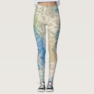 Blue & Tan Watercolor Leggings