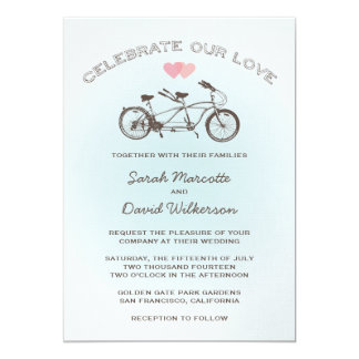 Blue Tandem Bicycle Wedding Card