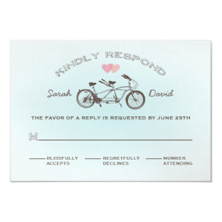 Blue Tandem Bicycle Wedding RSVP Card