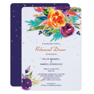 Blue Tangerine Floral Wedding Rehearsal Invitation