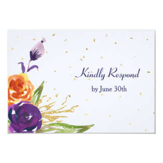 Blue Tangerine Floral Wedding RSVP Card