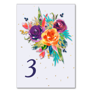 Blue Tangerine Floral Wedding Table Card