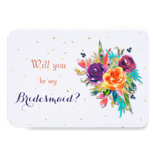 Blue Tangerine Floral Will You Be My Bridesmaid Card
