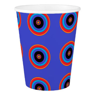 blue target circle paper cup