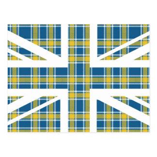 Blue Tartan Pattern Union Jack British(UK) Flag Postcard
