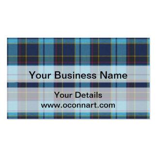 Blue tartan plaid business cards