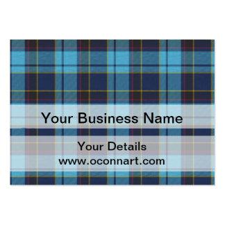 Blue tartan plaid business card templates