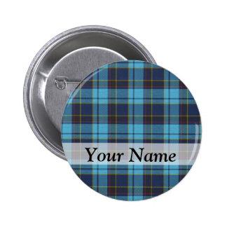 Blue tartan plaid button