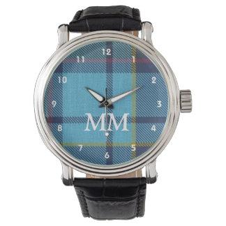 Blue tartan plaid monogrammed wristwatch
