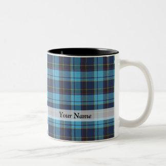 Blue tartan plaid mug