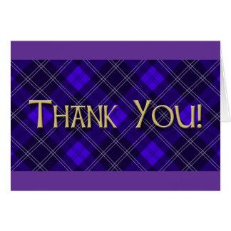 Blue Tartan Thank You Card
