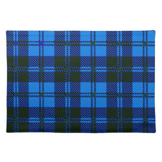 Blue Tartan Wool Material Placemat