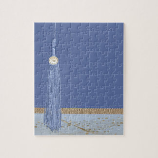 Blue Tassel, Leaf Accent, Abstract Gold, Blue Jigsaw Puzzle