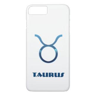 Blue Taurus Zodiac Sign On White iPhone 7 Plus Case
