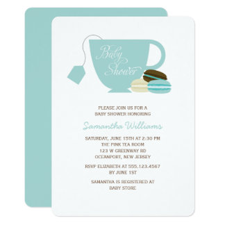 Blue Tea Cup and Macarons Baby Shower Card
