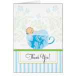 Blue Tea Cup Baby Shower Thank You Card