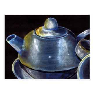 Blue Tea Set Postcard (Lori Corbett)