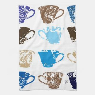 blue teacups tea towel