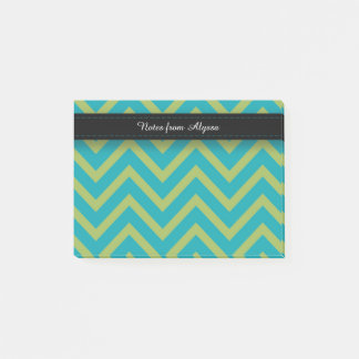 Blue / Teal and Green Chevron Post-it Notes