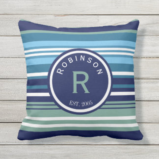Blue Teal And White Stripes Family Name Outdoor Cushion