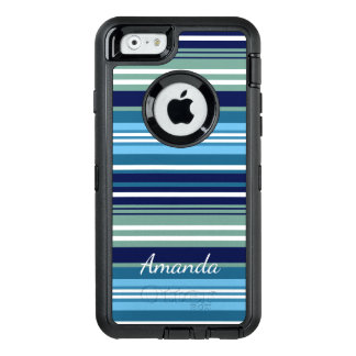 Blue Teal And White Summer Stripes OtterBox iPhone 6/6s Case