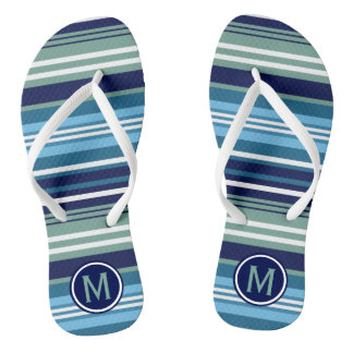 Blue Teal And White Summer Stripes Thongs