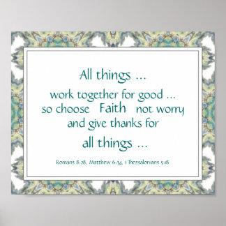Blue Teal Bible Scripture Encouragement Quotes Poster