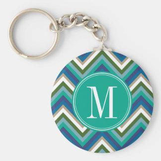 Blue & Teal Chevron Pattern with Monogram Key Ring