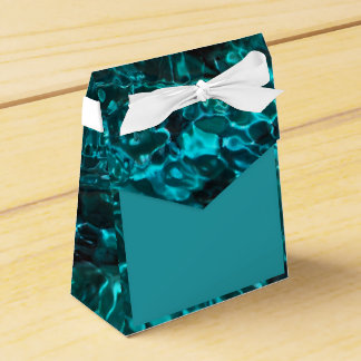 Blue teal favor box with aqua marine pattern wedding favour boxes