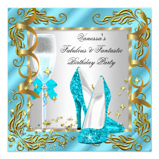 Blue Teal Gold Silver Women's Birthday Party 13 Cm X 13 Cm Square Invitation Card