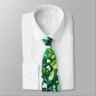 Blue teal green agates tie