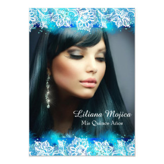 """Blue & Teal Lace Feather Jewels Quinceanera Invite 5"""" X 7"""" Invitation Card"""