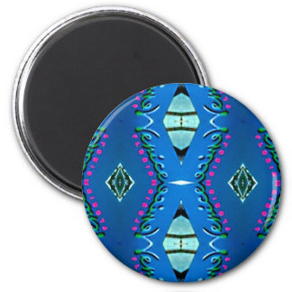Blue Teal Magenta 'Venice' Tribal Pattern 6 Cm Round Magnet