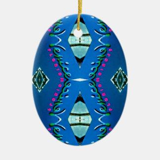 Blue Teal Magenta 'Venice' Tribal Pattern Ceramic Ornament