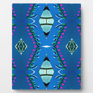 Blue Teal Magenta 'Venice' Tribal Pattern Display Plaque