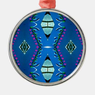 Blue Teal Magenta 'Venice' Tribal Pattern Metal Ornament