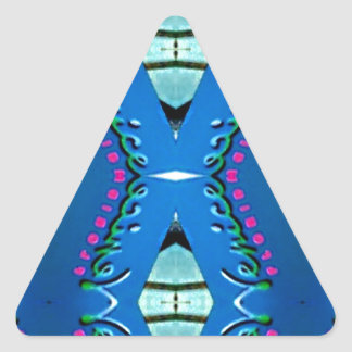 Blue Teal Magenta 'Venice' Tribal Pattern Triangle Sticker
