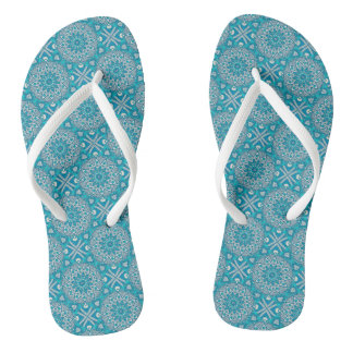 Blue & Teal Mandala Flip Flops Thongs