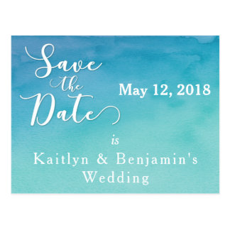 Blue & Teal Ombre Watercolor Save the Date 2 Postcard