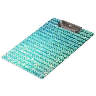 Blue Teal Sparkle Ocean Mermaid Waves Pattern Clipboard