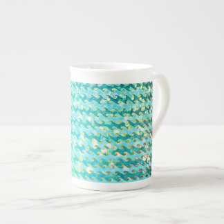 Blue Teal Sparkle Ocean Mermaid Waves Pattern Tea Cup