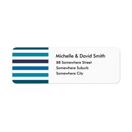 Blue Teal Stripes Monogram Pattern Return Address Label