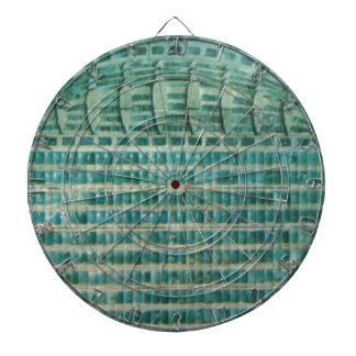 blue teal tiles dartboard