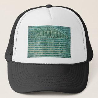 blue teal tiles trucker hat