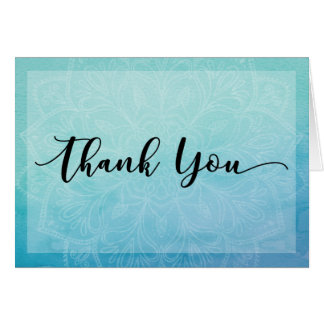 Blue & Teal Watercolor Mandala Thank You Note, 4 Card