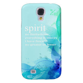 Blue Teal Watercolor Spiritual Quote Samsung Galaxy S4 Cases