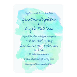 Blue teal watercolor vintage handwritten Wedding Card