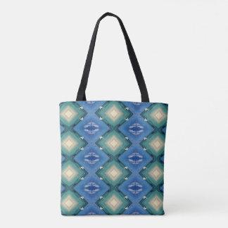 Blue Teal White Tan Diamond Pattern Tote Bag