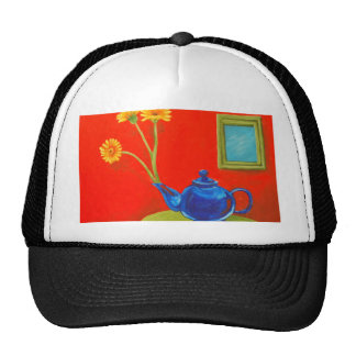 Blue Teapot and Daisies Cap