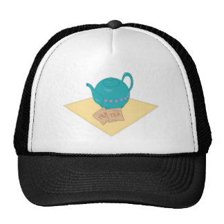 blue teapot and teabags mesh hat